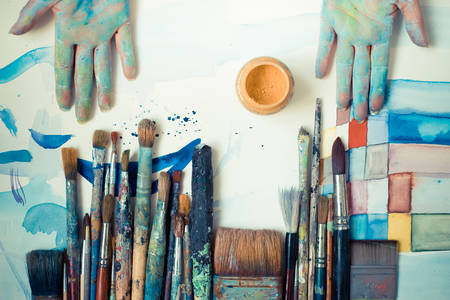 atelier: abstract brushes and paint in atelier Stock Photo