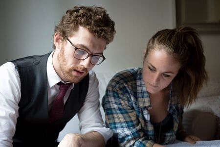 business blonde hipster couple working at home Stock Photo - 22774043
