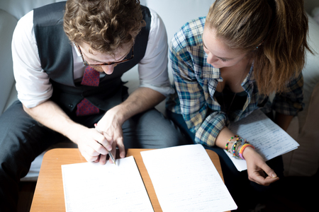 business blonde hipster couple working at home Stock Photo - 22774052