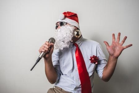 funny santa claus babbo natale singing on white background