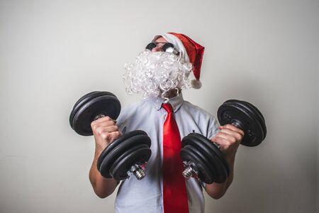 funny santa claus babbo natale on white background photo