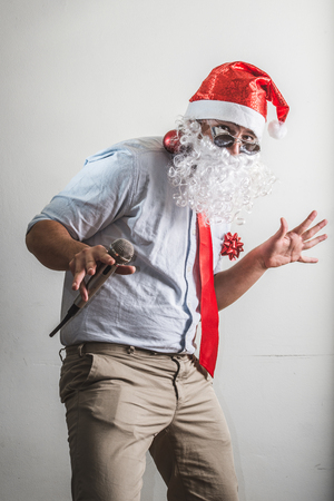babbo natale: funny santa claus babbo natale singing on white background