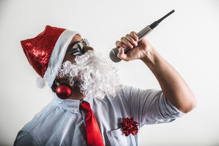 babbo natale: funny santa claus babbo natale singing on white background