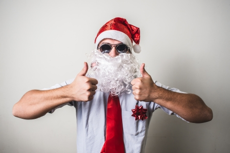 funny santa claus babbo natale on white background photo