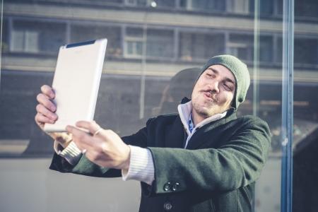 man using tablet Stockfoto