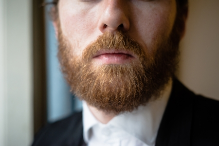 a beard: close up of handsome beard hipster elegant man  Stock Photo