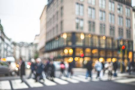 blurred city and people urban scene Stockfoto