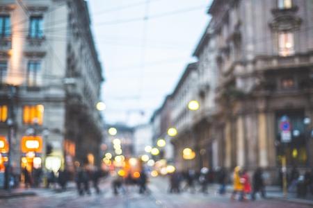 wazig stad en de mensen stedelijke scène Stockfoto