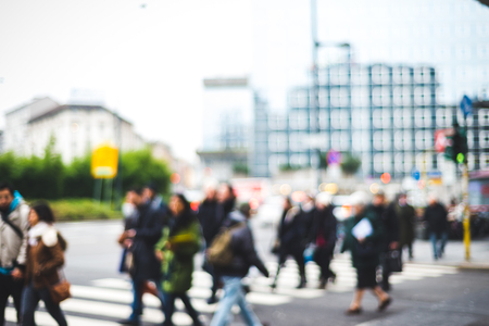blurred people: blurred city and people urban scene Stock Photo