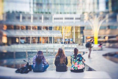 tilt: blurred abstract city tilt shift  Stock Photo