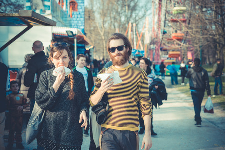young modern stylish couple urban city outdoors Imagens