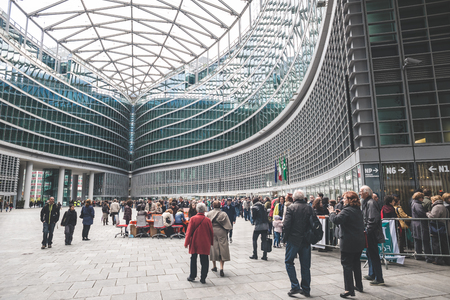 MILAN, ITALY - MARCH 23: People visitng Palazzo Lombardia, most high and important building in Milan,  opening for visitors during FAI, Fondo Ambiente Italiano, on MARCH 23, 2014 in Milan.