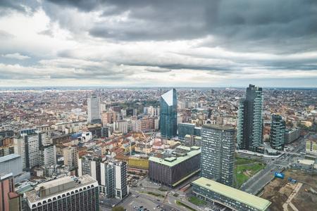 skyline urban city high view of Milan