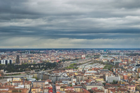 skyline urban city high view of Milan  photo