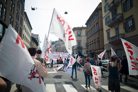 liberation: MILAN, ITALY - APRIL 25: celebration of liberation held in Milan on 25 April 2014. People took the streets in Milan to celebrate the anniversary of the liberation of Italy from Nazism and Fascism