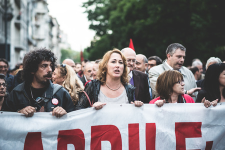 nazis: MILAN, ITALY - APRIL 29: Manifestation against fascism and nazism in Milan on 25 April 2014. People took the streets in Milan to protest against neo nazis and fascists groups present in Milan