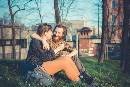 young modern stylish couple urban city outdoors photo