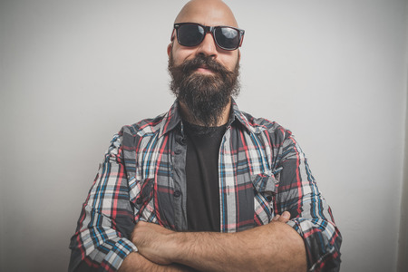 hipster long bearded and mustache man with shirt squares Stock fotó