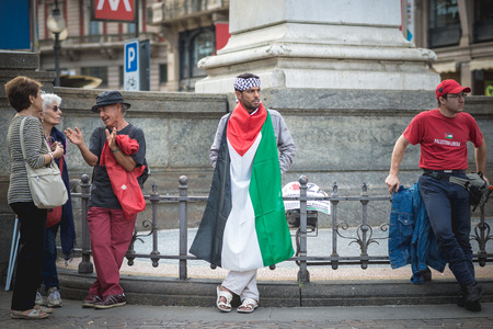 gaza: MILAN, ITALY - JULY 26: Pro Palestine manifestation held in Milan on July, 26 2014. People took to the streets to claim  Gaza and Palestine freedom against israel war and bombing