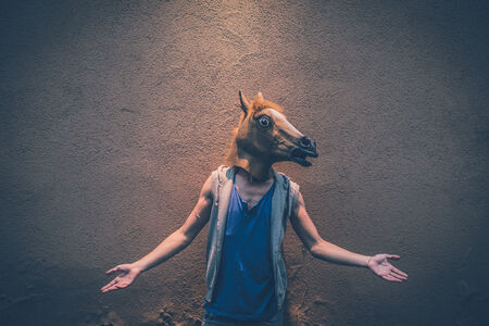 horse mask young hipster gay man in the city Reklamní fotografie - 33748061