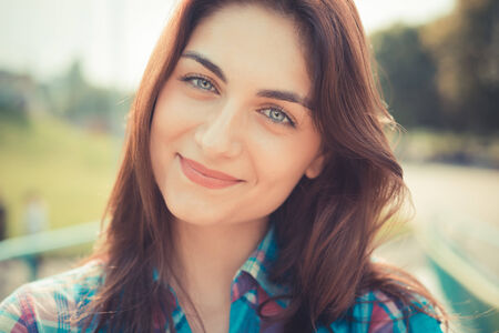 beautiful young hipster woman photo