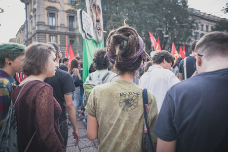 lega nord: MILAN, ITALY - OCTOBER 18: manifestation held in Milan october 18, 2014. People took streets to protest against racism, war and against lega nord, right wing politic italian movement