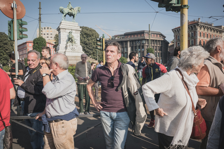 lega: MILAN, ITALY - OCTOBER 18: manifestation held in Milan october 18, 2014. People took streets to protest against racism, war and against lega nord, right wing politic italian movement