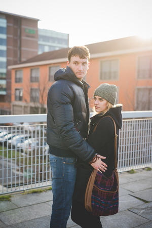 authentic: young couple lovers authentic in the city