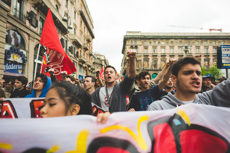 nazism: MILAN, ITALY - APRIL 25: celebration of liberation held in Milan on April 25, 2015. People took the streets in Milan to celebrate the 70th anniversary of the liberation of Italy from Nazism and Fascism Editorial