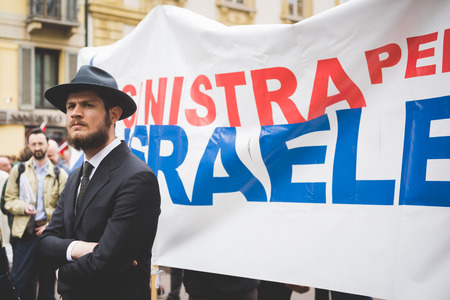 jewish group: MILAN, ITALY - APRIL 25: celebration of liberation held in Milan on April 25, 2015. People took the streets in Milan to celebrate the 70th anniversary of the liberation of Italy from Nazism and Fascism Editorial