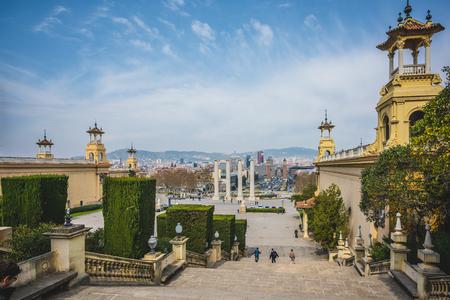 espanya: SPAIN, BARCELONA - MARCH 21: Placa De Espanya on March, 21 2015. Placa De Espanya is the most important square in the centre of barcelona near national museum