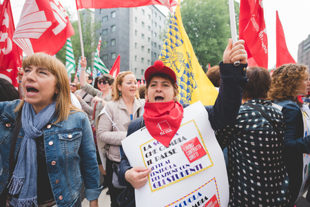 manifestation: MILAN, ITALY - MAY 05: Students manifestation held in Milan on May, 5 2015. Students and teachers took to the streets to protest against new laws on education by minister Stefania Giannini