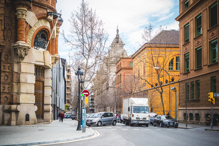 largest: BARCELONA, SPAIN - MARCH 21: streets of Barcelona on March 21, 2015. Barcelona is the capital city of Catalonia in Spain and the countrys second largest city, with a population of 1.6 million Editorial
