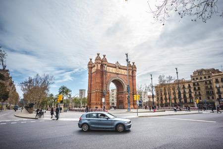 josep: BARCELONA, SPAIN - MARCH 21: Arc de Triomf on March 21, 2015. Arc de Triomf It was built as the main access gate for the 1888 Barcelona World Fair by architect Josep Vilaseca i Casanovas. Editorial