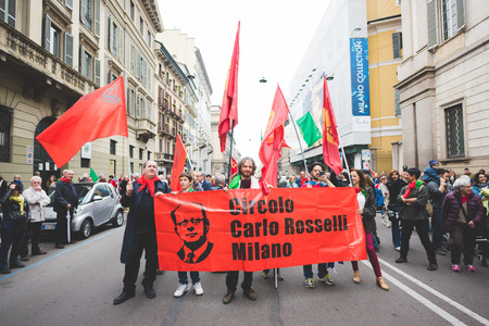 liberation: MILAN, ITALY - APRIL 25: celebration of liberation held in Milan on April 25, 2015. People took the streets in Milan to celebrate the 70th anniversary of the liberation of Italy from Nazism and Fascism Editorial