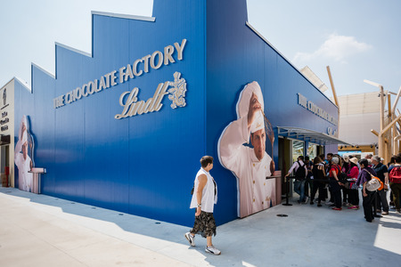 lindt: MILAN, ITALY - MAY 27: lindt pavillon at Expo, universal exposition on the theme of food on MAY 27, 2015 in Milan Editorial