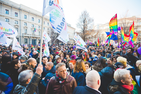 manifestation: MILAN, ITALY - JANUARY 23: unmarried couples manifestation in Milan on January 23, 2016. people manifestets for unmarried gay, lesbians and heterosexual equal civil rights Editorial
