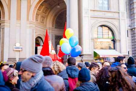 manifestation: MILAN, ITALY - JANUARY 23: unmarried couples manifestation in Milan on January 23, 2016. people manifestets for unmarried gay, lesbians and heterosexual equal civil rights couples Editorial