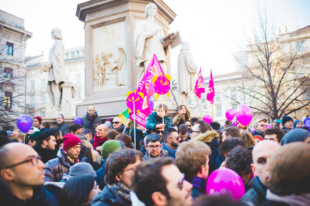manifestation: MILAN, ITALY - JANUARY 23: unmarried couples manifestation in Milan on January 23, 2016. people manifesting for unmarried gay, lesbians and heterosexual equal civil rights couples