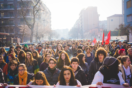 MILAN, ITALY - JANUARY 29: students demonstrating against the meeting between Marie Le Pen and Matteo Salvini on Milan on January 29, 2016. Crowd marching against racism, fascism and sessism Editorial