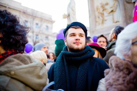 manifestation: MILAN, ITALY - JANUARY 23: unmarried couples manifestation in Milan on January 23, 2016. Man manifesting for unmarried gay, lesbians and heterosexual equal civil rights couples Editorial