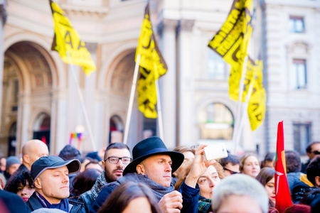 civil rights: MILAN, ITALY - JANUARY 23: unmarried couples manifestation in Milan on January 23, 2016. people manifestets for unmarried gay, lesbians and heterosexual equal civil rights couples Editorial