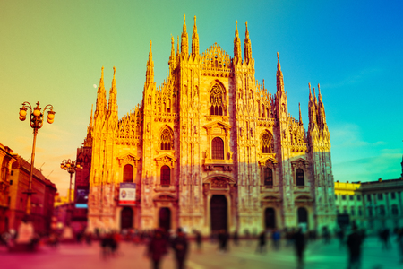 intentionally: Intentionally blurred colorful filtered view of Duomo, the most important cathedral in Milan Stock Photo