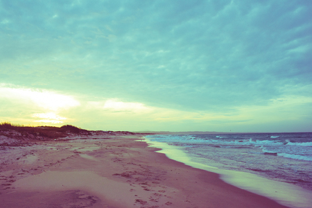 upraise: Vintage filtered sardinian seaside during sunset - relax, peaceful concept Stock Photo