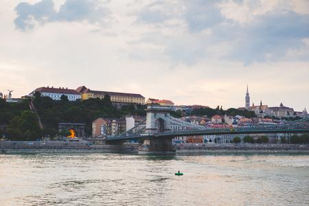 View of Liberty Bridge over Danube river in Budapest Stockfoto