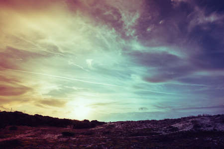Filtered vintage view of Sardinian countryside at dusk Stockfoto