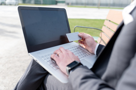 Close up on the hands of man shopping online, using laptop and credit card Zdjęcie Seryjne
