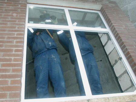 establishing: The builded house. Working establishing window frames