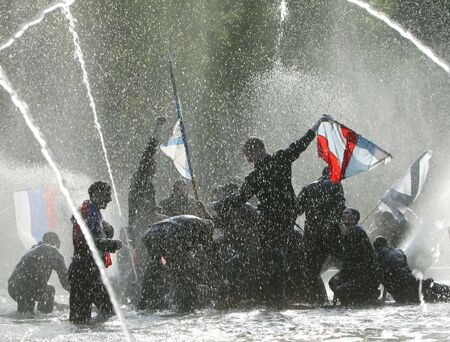 hilarity: Cadets of the  naval engineering high school celebrate release by traditional bathing in a fountain in Aleksandrovskiy  garden. *** Local Caption *** Editorial, No Release Required