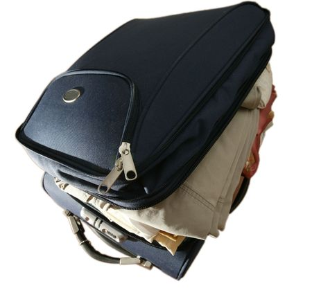 furlough: suitcase befor voyage Stock Photo